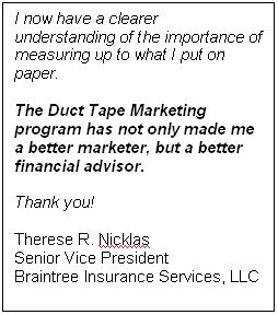 Testimonial for Duct Tape Marketing